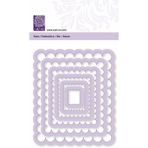 Scallop Rectangle Frame All Machine Punching Embossing Stencil Decoration Craft 19-99 mm - Hobby & Crafts
