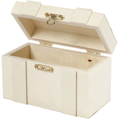 Light Wood Jewellery Storage Box Treasure Chest With Metal Lock Decoration Crafts