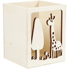 Light Wood Pencil Pen Holder With Punched Motif Stationery Decoration Crafts 10cm
