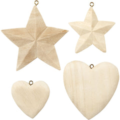 4 x Assorted Size Paulownia Wood Hearts Stars With Eye Hanging Decoration Crafts