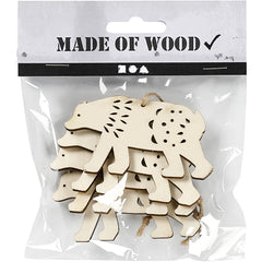 4 x Plywood Ornaments With String Hanging Decoration Crafts 7.5x4.5x0.5 cm - Polar Bear