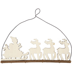 Plywood Cane With Reindeer With Metal Wire Hanging Christmas Decoration Crafts W: 22 cm