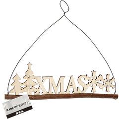 Plywood XMAS Motif With Metal Wire Hanging Christmas Decoration Crafts W: 22 cm