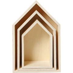 3 x Plywood Light Wood Storage Boxes With Metal Hanger Home Decor Crafts 10cm