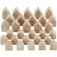 30 x Paulownia Wood Houses With Metal Eye Hanging Decoration Crafts