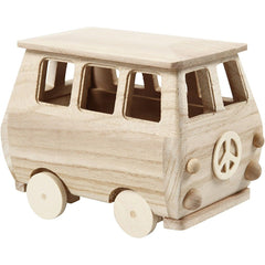 Paulownia Pine Mini Bus Wooden Painting Decoration Material Crafts 17x 10x 13cm - Hobby & Crafts