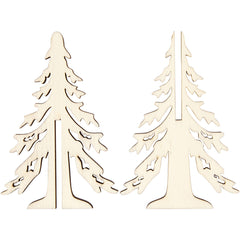 Wooden 3D Christmas Tree With Dark Edges Decoration Crafts H: 12.5 cm W: 8.5 cm