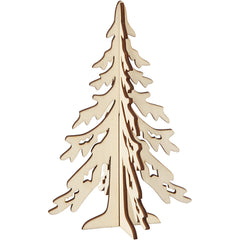 Wooden 3D Christmas Tree With Dark Edges Decoration Crafts H: 20 cm W: 13 cm