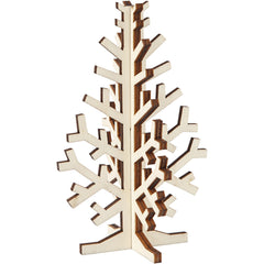 Wooden 3D Christmas Tree With Dark Edges Decoration Crafts H: 12 cm W: 7.5 cm