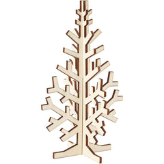 Wooden 3D Christmas Tree With Dark Edges Decoration Crafts H: 20 cm W: 12 cm