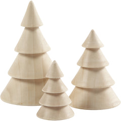 3 x Assorted Size Empress Wood Chritmas Trees Decoration Crafts 5-10 cm