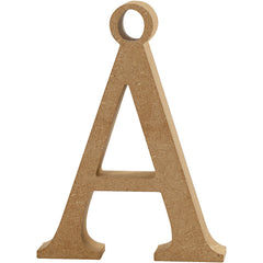 MDF Wood Motif Hanging Decoration Letters Symbols Crafts H: 8 cm T: 1.5 cm - A With Hole