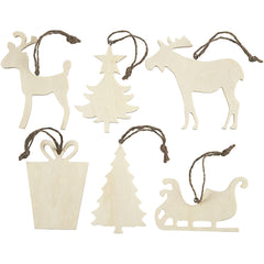 6 x Assorted Design Plywood Ornaments With Cord Christmas Decoration Crafts 7-9 cm