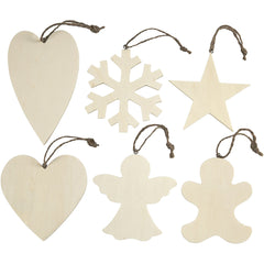 6 x Assorted Design Plywood Ornaments With Cord Christmas Decoration Crafts 9-11 cm