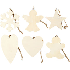 90 x Assorted Design Plywood Ornaments With Cord Christmas Decoration Crafts 9-11 cm