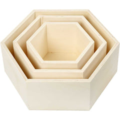 3 x Plywood Hexagonal Storage Boxes Decoration Crafts 10 cm