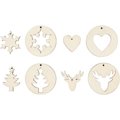 8 x Plywood Assorted Shape 2 In 1 Christmas Hanging Decoration Crafts  D: 7 cm