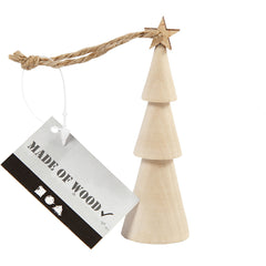 Solid Wood Christmas Tree With Star String Hanging Decoration Crafts 9 cm