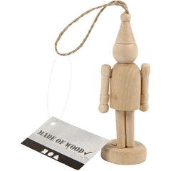 Poplar Wood Figure With Suspension Cord Hanging Decoration Crafts H: 9 cm