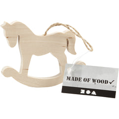 Pine Wood Rocking Horse With Suspension Cord Hanging Decoration Crafts W: 8 cm H: 6 cm