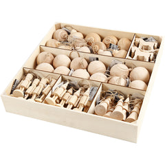 72 x Birk Wood Christmas Ornaments With String Hanging Home Decor Crafts 5.5-9 cm