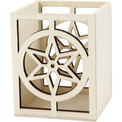 Plywood Square Shaped Lantern Pencil Holder With Star Motif Home Decoration Crafts 8x8x10 cm