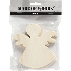 6 x Pine Wood Angels With Suspenion Hole Hanging Decoration Figures Crafts 12x11 cm