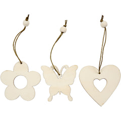200 x Wooden Assorted Ornament With String Decoration Animals Figures Crafts - Flower Butterfly Heart