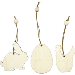 200 x Wooden Assorted Ornament With String Decoration Animals Figures Crafts - Rabbits Hens Eggs