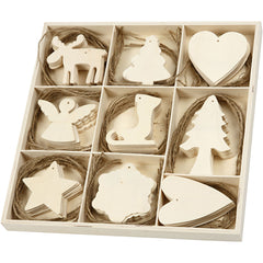72 x Plywood Christmas Ornaments With String Hanging Decoration Crafts 7-8 cm