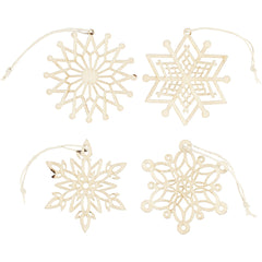 8 x Light Wood Ornaments With Suspension Cord Hanging Decoration Crafts 7 cm
