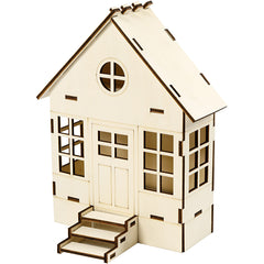 Wooden Bay Window Construction House Decoration Crafts W: 19 cm H: 24 cm