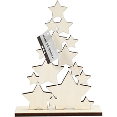 Wooden Christmas Tree With Dark Edges Decoration Crafts H: 19.6 cm W: 14.7 cm