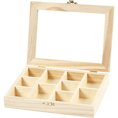 Fyr Wood Metal Clasp Storage Box With Glass Lid Decoration Crafts 15.5x20.5x3.5 cm