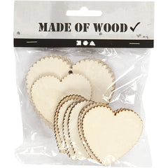 12 x Assorted Size Wooden Hearts With Suspension Hole Decoration Crafts 5.1x5.1 cm