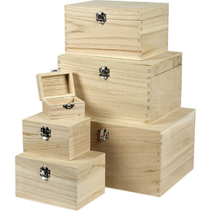 6 x Wooden Treasure Chests Storage Metal Clasps Box Set To Decorate - 15 sets - Hobby & Crafts
