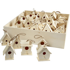 60 x Assorted Size Wooden Mini Bird House With String Hanging Decoration Crafts 7 cm