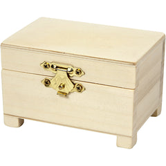 Wooden Treasure Chest Storage Box With Metal Clasp Decoration Crafts 6x9x6 cm
