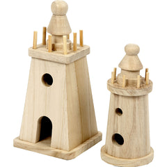 2 x Paulownia Wood Lighthouses Decoration Crafts 18x8 cm