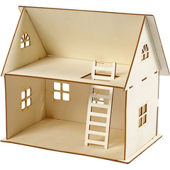 Plywood Doll House Construction Kit Toys Children Decoration Crafts 18x27x35 cm