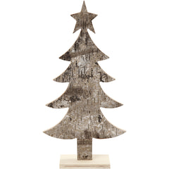 Light Wood Christmas Tree With Foot Decoration Crafts W: 13 cm H: 26 cm