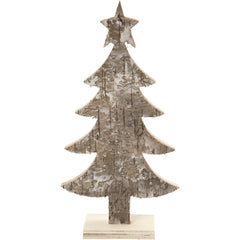 Light Wood Christmas Tree With Foot Decoration Crafts W: 9 cm H: 18 cm