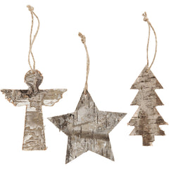 3 x Plywood Christmas Ornaments With String Hanging Decoration Crafts W: 8 cm