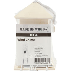 Light Wood Wind Mill With Metal Chimes Hanging Home Decoration Crafts H: 12 cm W: 7 cm