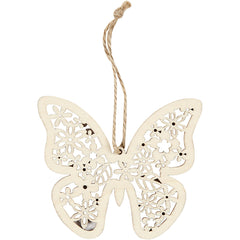 3 x Wooden Ornament Motifs With Cord Hanging Decoration Crafts - Butterfly Bird Flower
