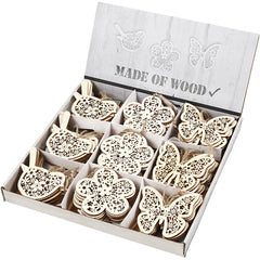 90 x Wooden Ornament Motifs With Cord Hanging Decoration Crafts - Butterfly Bird Flower