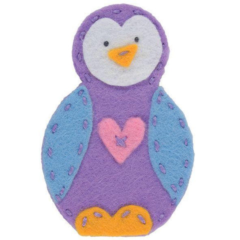 Penguin Finger Puppet Felt Appliqu?® Craft Kit Needlecraft Kits Canvases 9 cm - Hobby & Crafts
