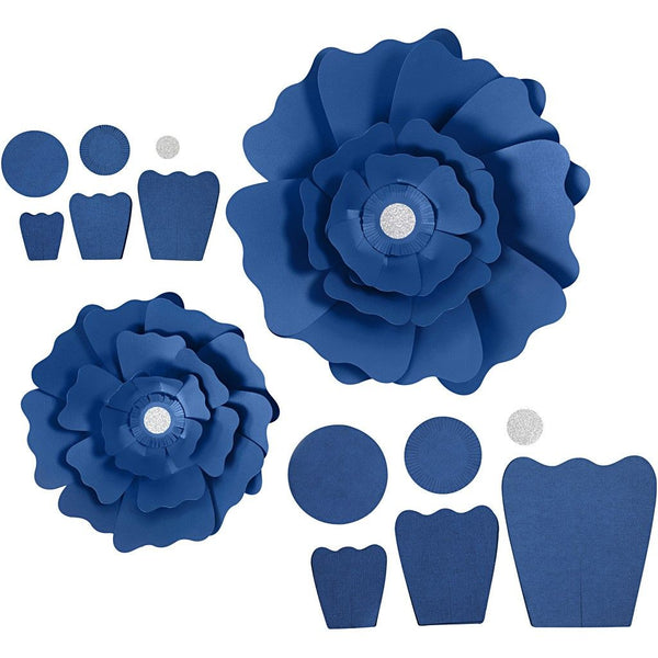 2 x Different Sizes Assorted Colours Paper Flowers For Crafts Cards Decorations - Hobby & Crafts