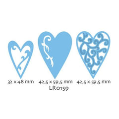 LR0159 - Marianne Creatables Stencil Die Cutting Embossing Sizzix - Hearts - Hobby & Crafts