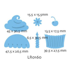 LR0160 - Marianne Creatables Stencil Die Cutting Embossing Sizzix - Cupcake Candles - Hobby & Crafts